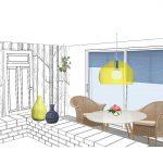 3D tegning - Indretning af køkken og spiseplads i Aarhus