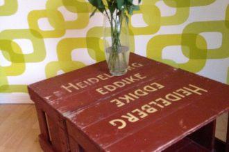 Sofabord af gamle eddikekasser - redesign by CeeDesign