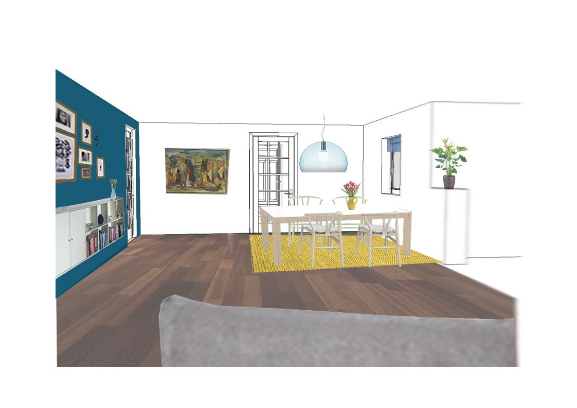 Indretningsforslag af stue i Aarhus