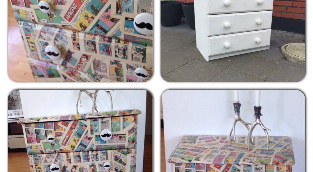 Sjov kommode tapetseret med tegneserier. DIY / Redesign / Upcycling fra CeeDesign