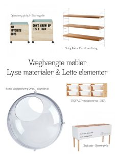 Møbler og indretning til børneværelse. (Forslag)